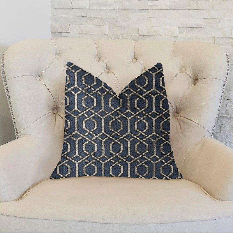 "Plutus Brands Midnight Padlock Blue Black and Beige Luxury Throw Pillow 12"" x 20"" (PBKR1955-1220-DP)"