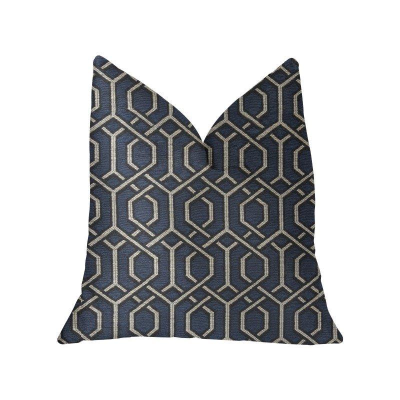 "Plutus Brands Midnight Padlock Blue Black and Beige Luxury Throw Pillow 24"" x 24"" (PBKR1955-2424-DP)"