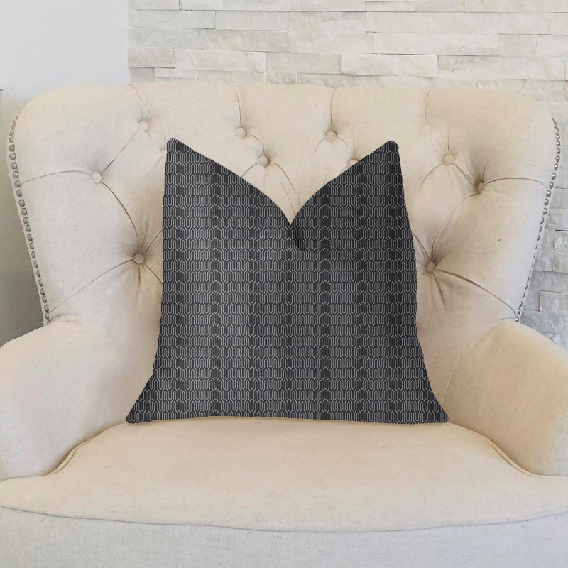 "Plutus Brands Milan Flare Black and Beige Luxury Throw Pillow 24"" x 24"" (PBKR1982-2424-DP)"