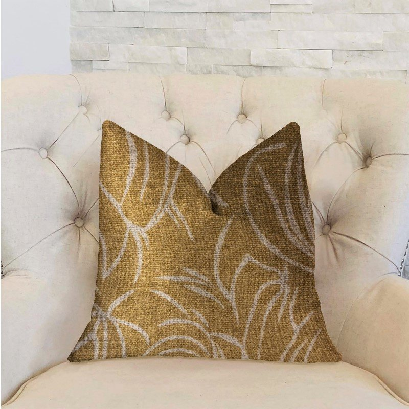 "Plutus Brands Mira Mirage Gold Luxury Throw Pillow 20"" x 20"" (PBRA2314-2020-DP)"