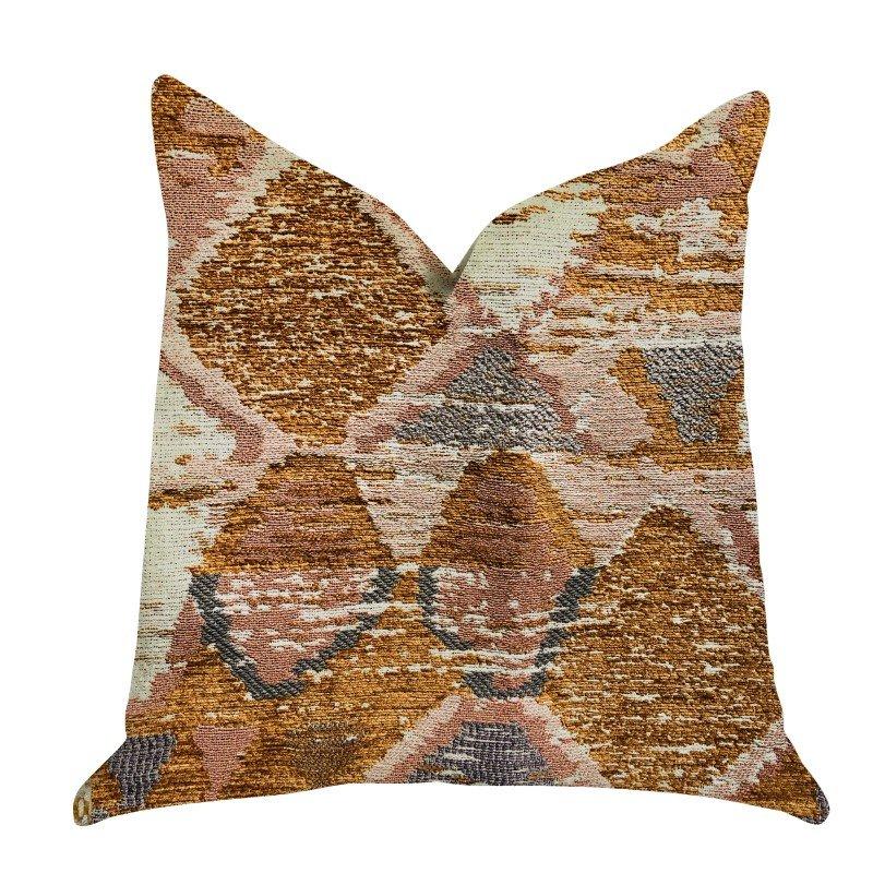 "Plutus Brands Mira Oasis Shades of Brown Luxury Throw Pillow 16"" x 16"" (PBRA1314-1616-DP)"