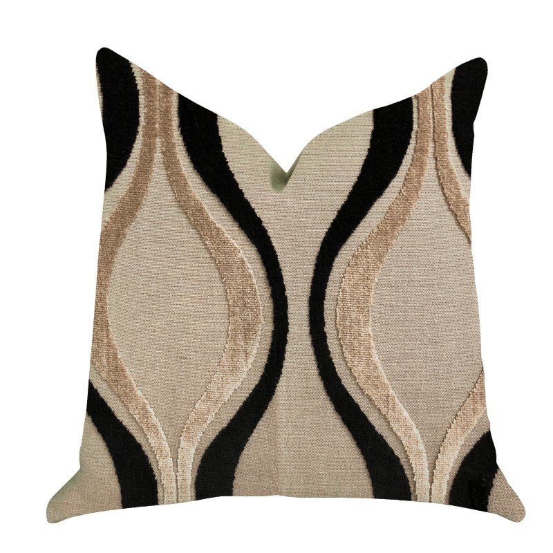 "Plutus Brands Misty Belvedere Luxury Throw Pillow in Brown and Black Tones Pillows 20"" x 30"" Queen (PBRA1367-2030-DP)"