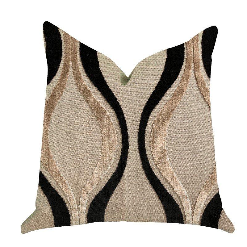 "Plutus Brands Misty Belvedere Luxury Throw Pillow in Brown and Black Tones Pillows 24"" x 24"" (PBRA1367-2424-DP)"