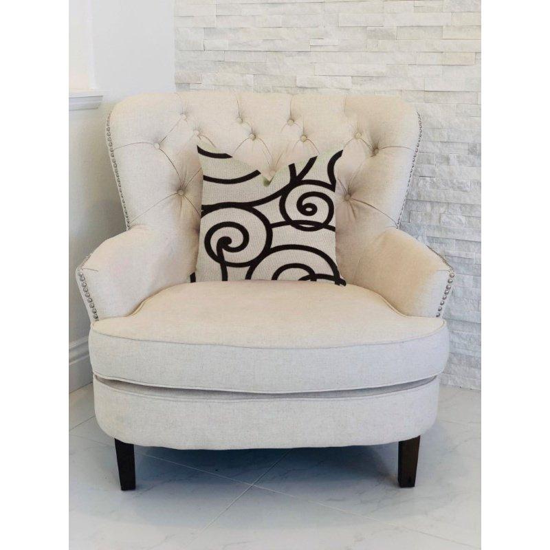 """Plutus Brands Moda Capella Black and White Luxury Throw Pillow 24"""" x 24"""" (PBRA1383-2424-DP)"""