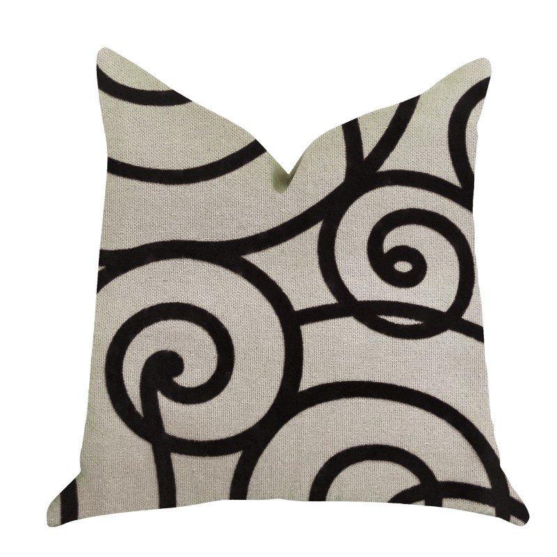 """Plutus Brands Moda Capella Black and White Luxury Throw Pillow 26"""" x 26"""" (PBRA1383-2626-DP)"""