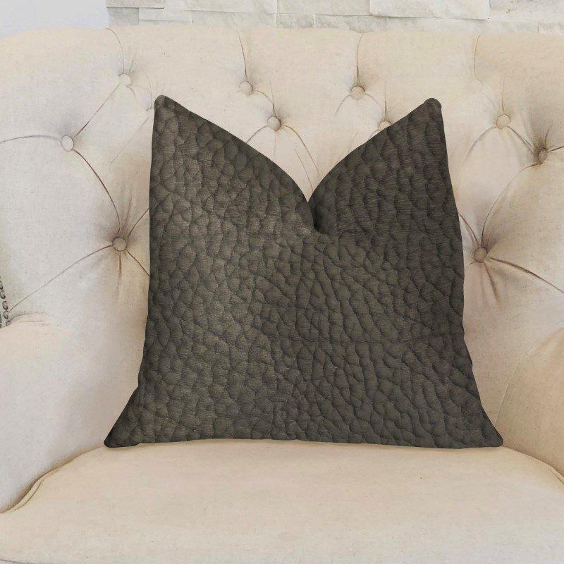 "Plutus Brands Modern Black Black Artificial Leather Luxury Throw Pillow 18"" x 18"" (PBKR1993-1818-DP)"