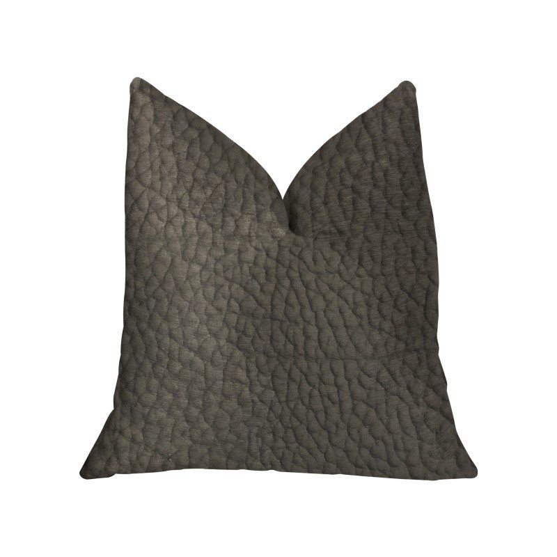 "Plutus Brands Modern Black Black Artificial Leather Luxury Throw Pillow 20"" x 30"" Queen (PBKR1993-2030-DP)"