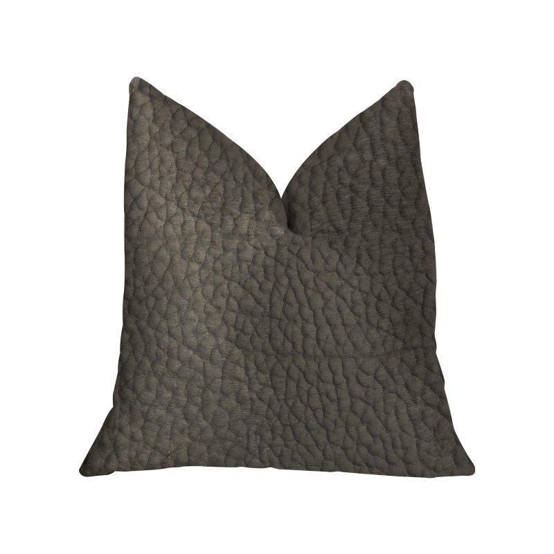 "Plutus Brands Modern Black Black Artificial Leather Luxury Throw Pillow 26"" x 26"" (PBKR1993-2626-DP)"