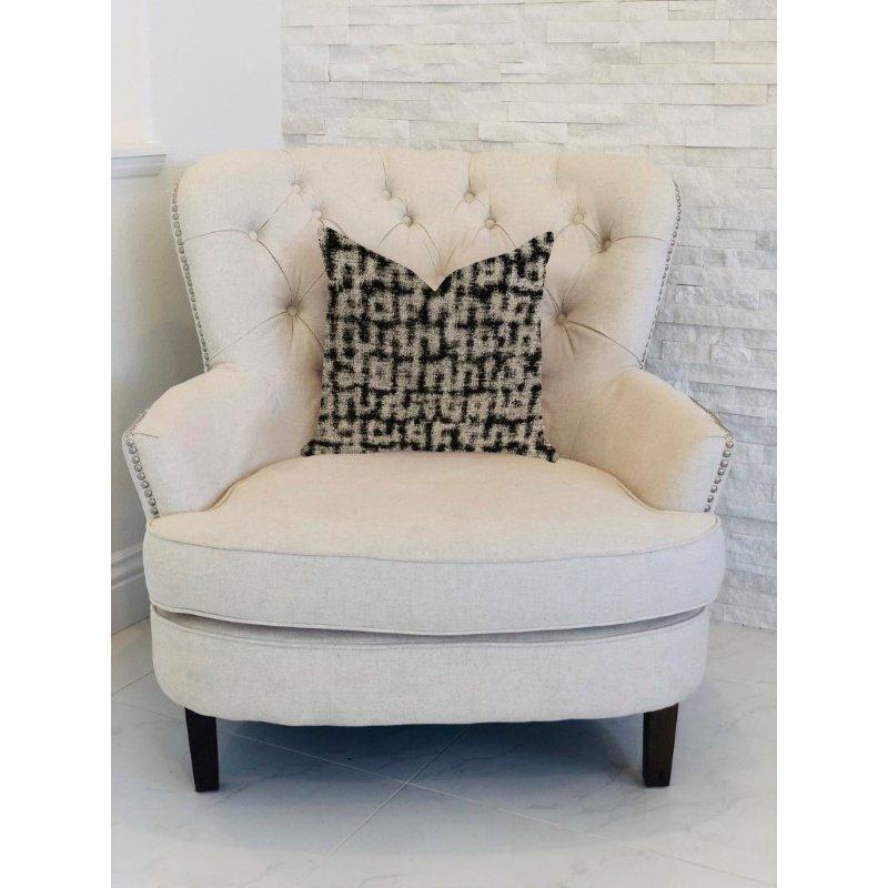 "Plutus Brands Modish Millie Luxury Throw Pillow in Black and Beige Tones Pillows 18"" x 18"" (PBRA1375-1818-DP)"