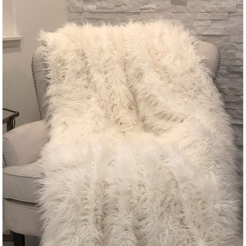 "Plutus Brands Mongolian Faux Fur Luxury Throw Blanket 80""L x 90""W Twin XL (PBSF1421-8090-TC)"