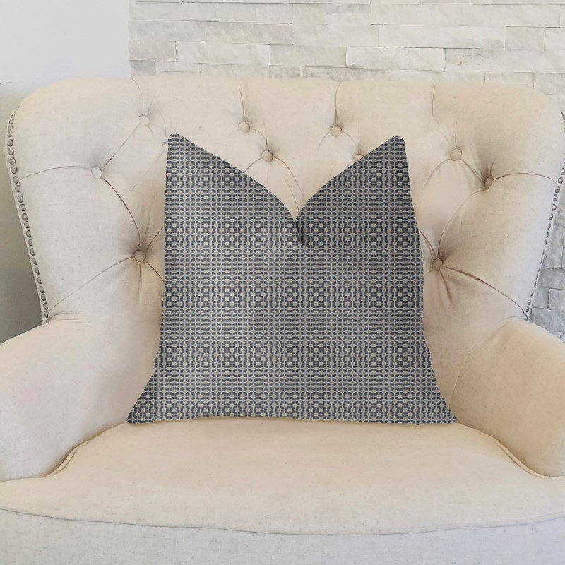 """Plutus Brands Mosaic Gray and Beige and Gold Luxury Throw Pillow 12"""" x 20"""" (PBKR1943-1220-DP)"""
