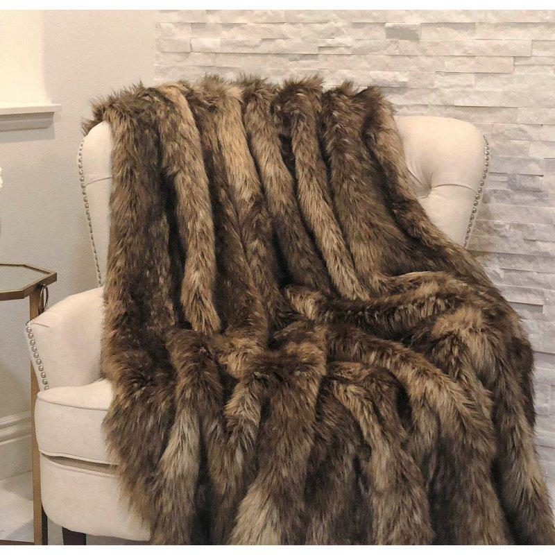 "Plutus Brands Mountain Coyote Handmade Luxury Throw 60""W x 72""L (PBSF1406-6072-TC)"