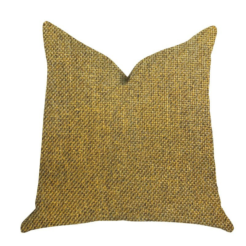 "Plutus Brands Mustard Seed Luxury Throw Pillow in Dark Yellow Pillows 20"" x 30"" Queen (PBRA1397-2030-DP)"