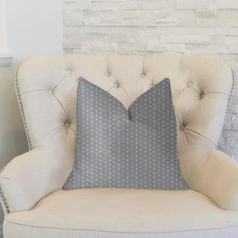 "Plutus Brands Myriad Hexagon Blue and Beige Luxury Throw Pillow 20"" x 20"" (PBKR1997-2020-DP)"