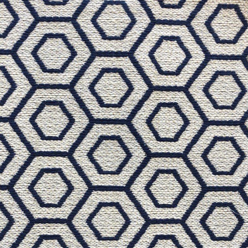 "Plutus Brands Myriad Hexagon Blue and Beige Luxury Throw Pillow 24"" x 24"" (PBKR1997-2424-DP)"