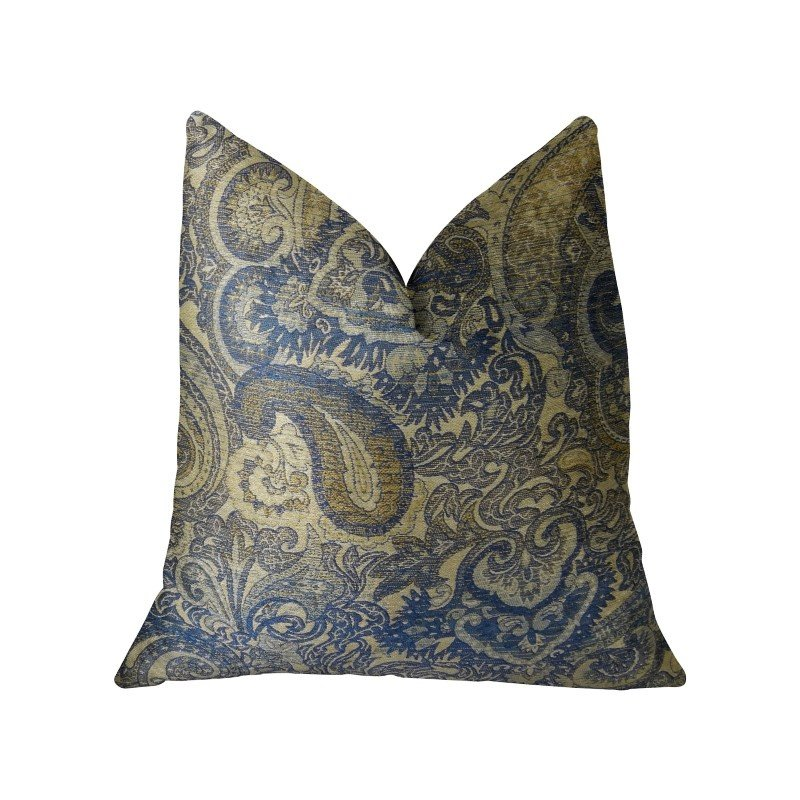 """Plutus Brands Myrtle Navy Blue and Taupe Handmade Luxury Pillow 20"""" x 36"""" King (PBRAZ083-2036-DP)"""