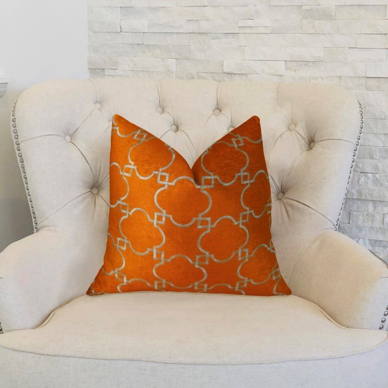 """Plutus Brands Nadiya Orange and White Handmade Luxury Pillow 16"""" x 16"""" (PBRAZ176-1616-DP)"""