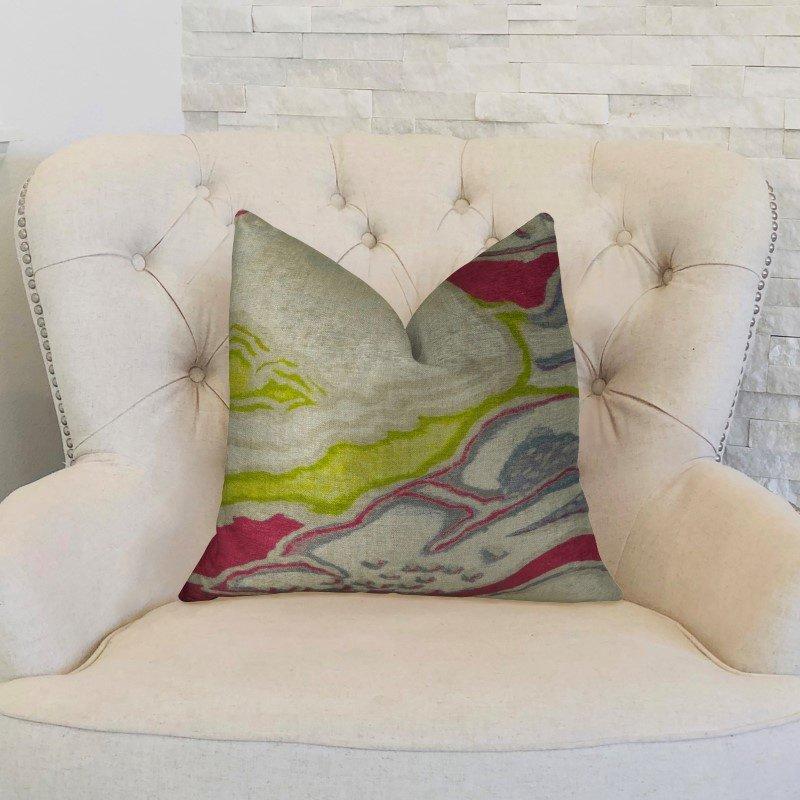 "Plutus Brands Namaste Beet Beige Gray Handmade Luxury Pillow Double Sided 24"" x 24"" (PBRAZ391-2424-DP)"