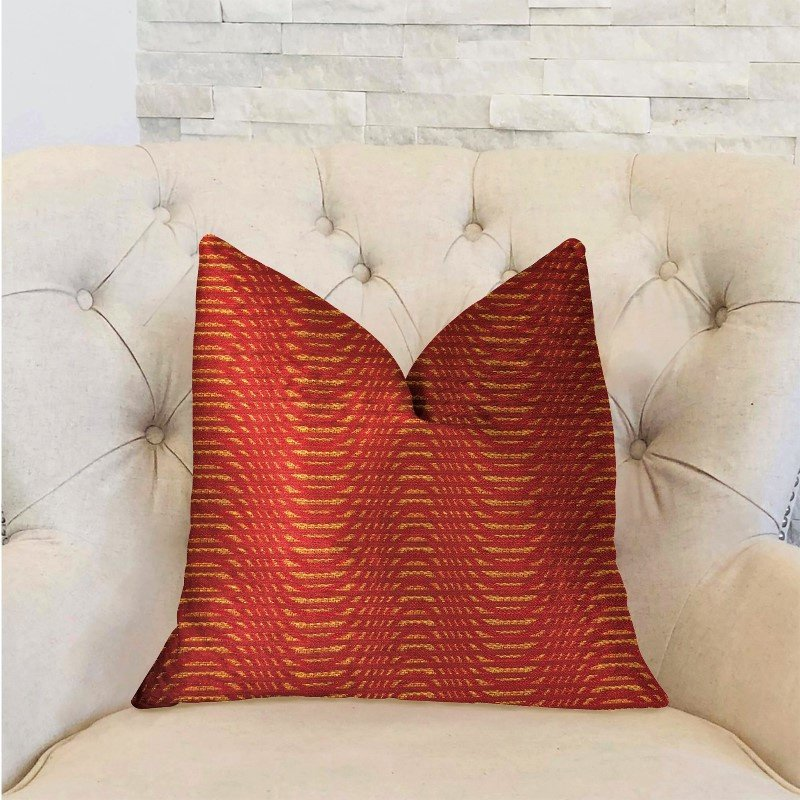 "Plutus Brands New Earth Ripple Red Luxury Throw Pillow 16"" x 16"" (PBRA2208-1616-DP)"