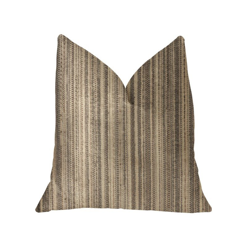"Plutus Brands New Hampton Ivory and Beige Luxury Throw Pillow 16"" x 16"" (PBKR1931-1616-DP)"