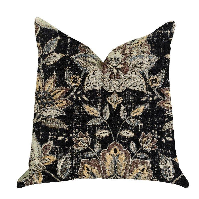 "Plutus Brands Noir Lotus Blossom Luxury Throw Pillow 12"" x 25"" (PBRA1335-1225-DP)"