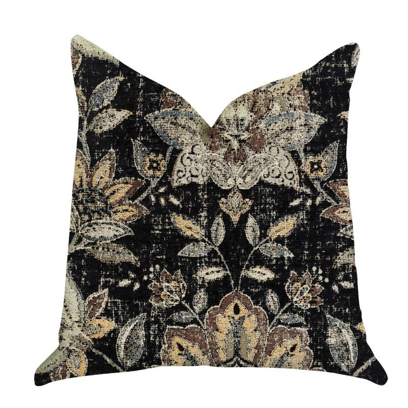 "Plutus Brands Noir Lotus Blossom Luxury Throw Pillow 24"" x 24"" (PBRA1335-2424-DP)"