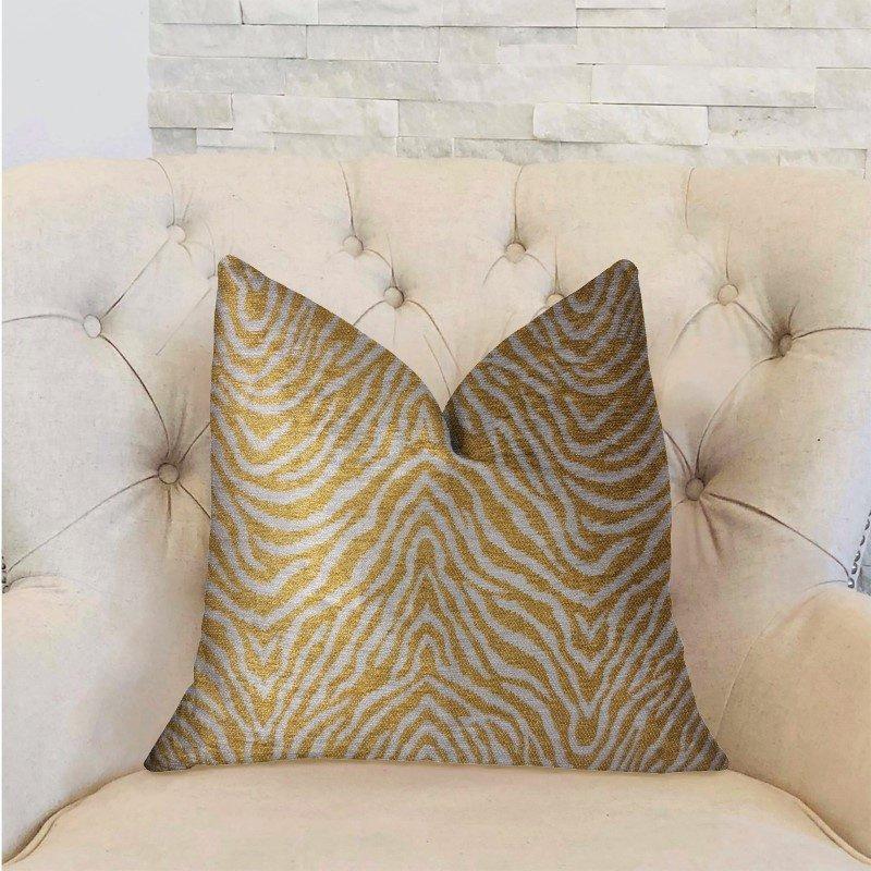 "Plutus Brands Oasis Waves Yellow and Beige Luxury Throw Pillow 20"" x 30"" Queen (PBRA2318-2030-DP)"