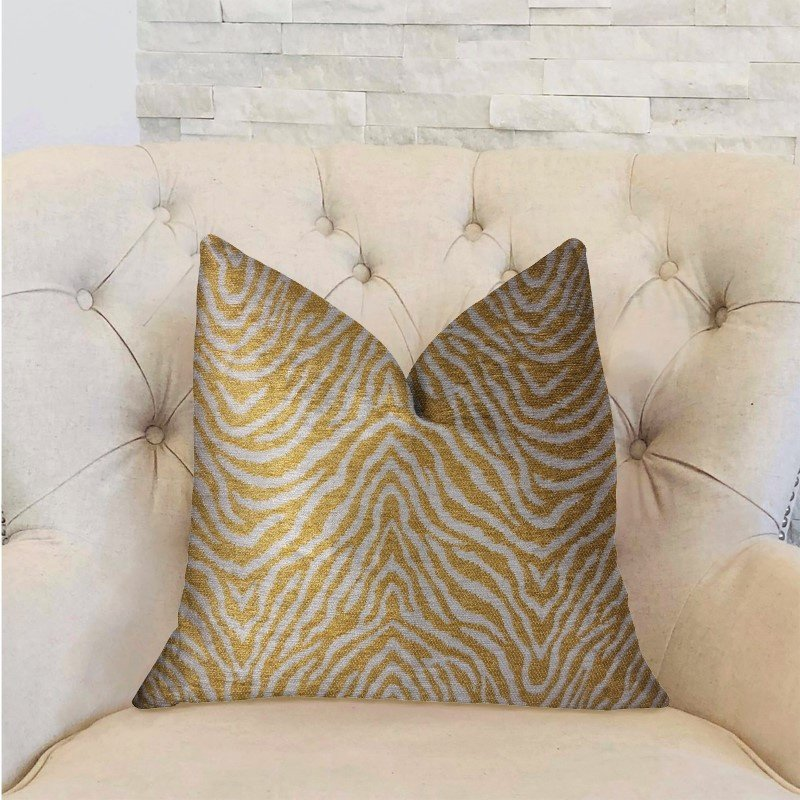 """Plutus Brands Oasis Waves Yellow and Beige Luxury Throw Pillow 26"""" x 26"""" (PBRA2318-2626-DP)"""