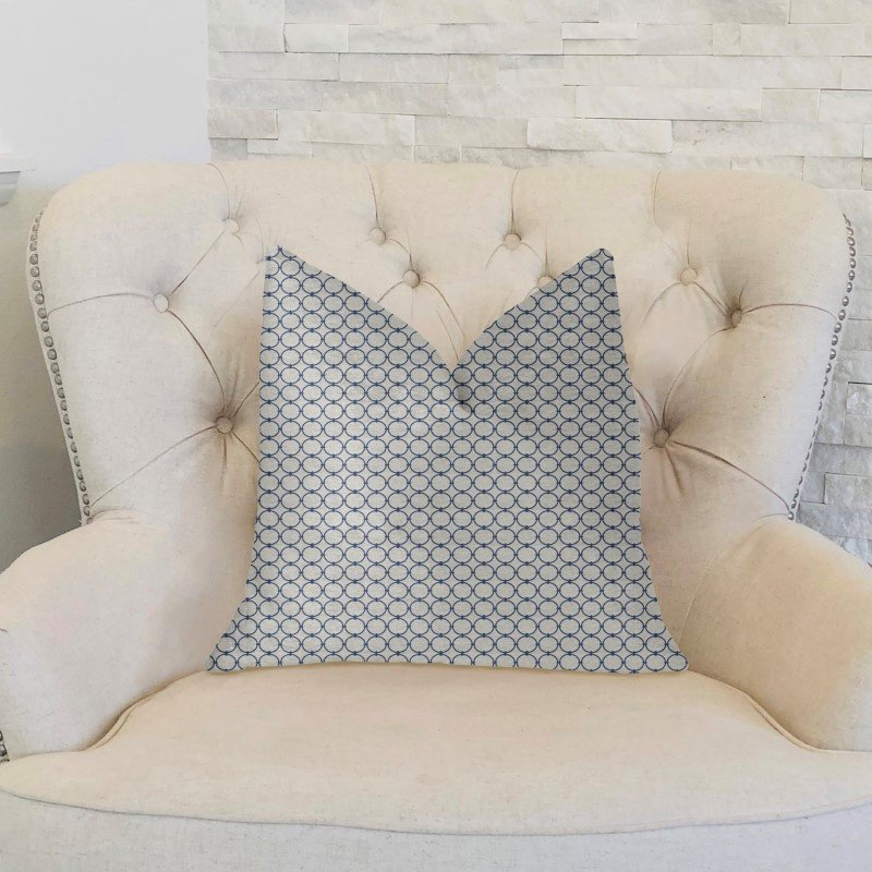 """Plutus Brands Object Lens Blue and Beige Luxury Throw Pillow 26"""" x 26"""" (PBKR1996-2626-DP)"""