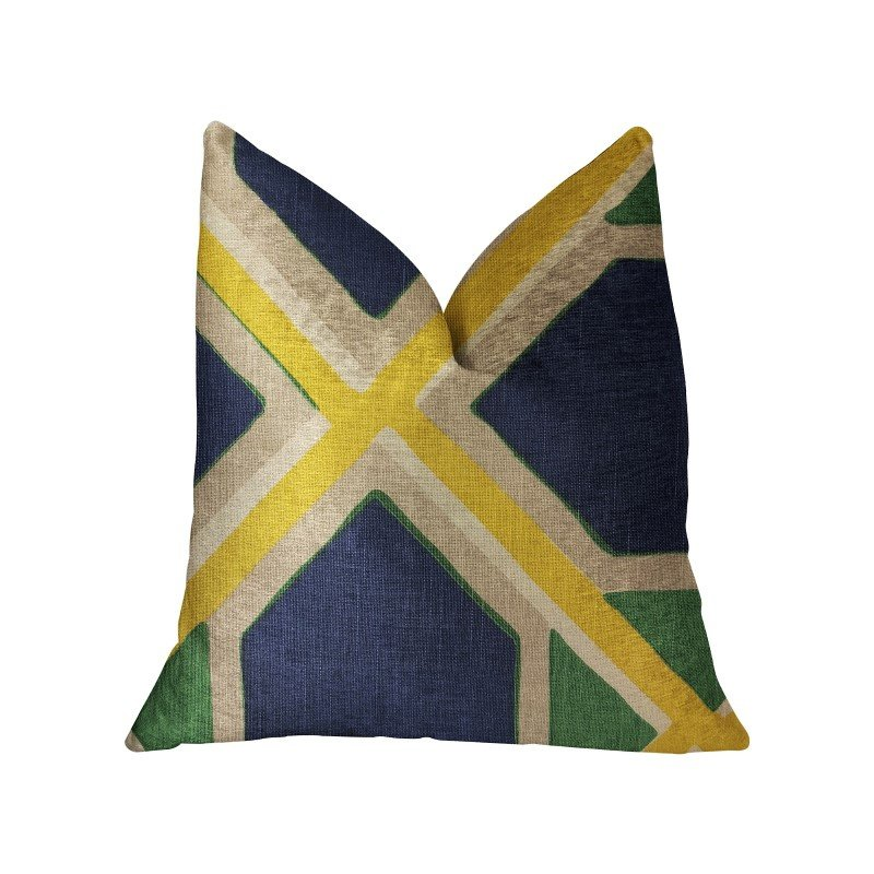 "Plutus Brands Obliquity Blue Yellow and Green Luxury Throw Pillow 16"" x 16"" (PBRA2218-1616-DP)"