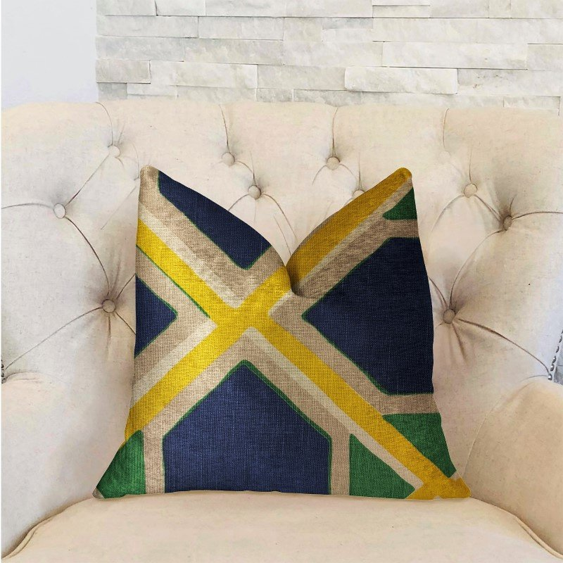 """Plutus Brands Obliquity Blue Yellow and Green Luxury Throw Pillow 26"""" x 26"""" (PBRA2218-2626-DP)"""