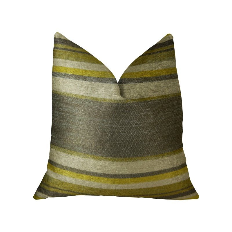 """Plutus Brands Olive and Fig Gray Citrine and Ivory Handmade Luxury Pillow 16"""" x 16"""" (PBRAZ269-1616-DP)"""