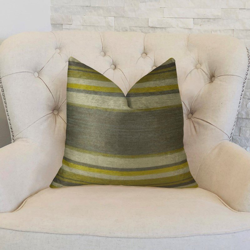 """Plutus Brands Olive and Fig Gray Citrine and Ivory Handmade Luxury Pillow 18"""" x 18"""" (PBRAZ269-1818-DP)"""