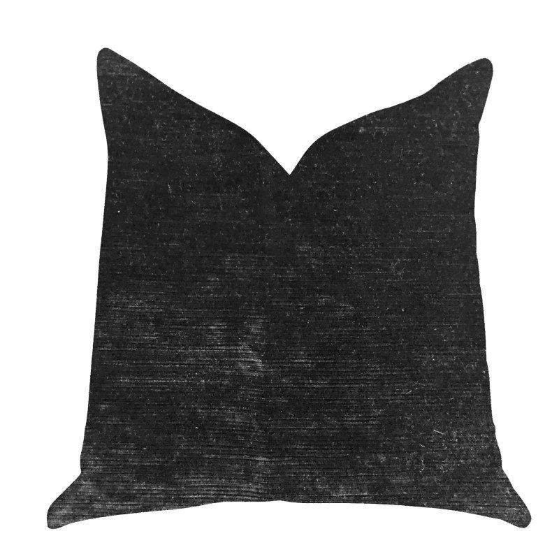 "Plutus Brands Onyx Caviar Velvet Throw Pillow in Black Pillows 22"" x 22"" (PBRA1368-2222-DP)"