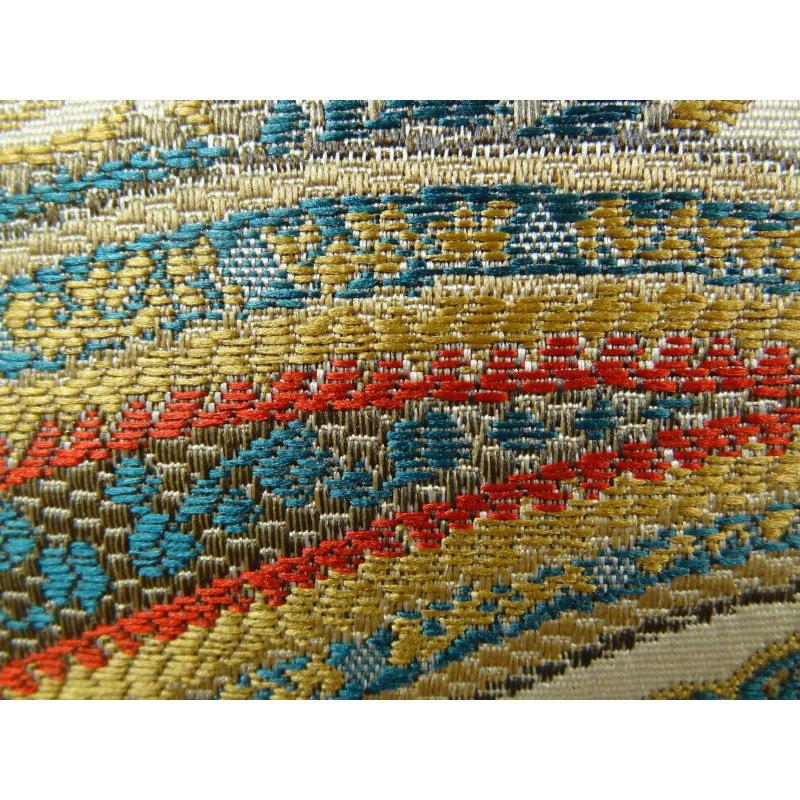 "Plutus Brands Paisley Bay Cream Red and Blue Handmade Luxury Pillow 12"" x 20"" (PBRAZ064-1220-DP)"