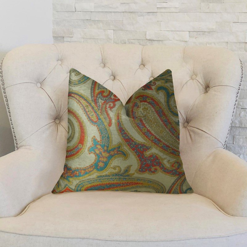 "Plutus Brands Paisley Bay Cream Red and Blue Handmade Luxury Pillow 18"" x 18"" (PBRAZ064-1818-DP)"