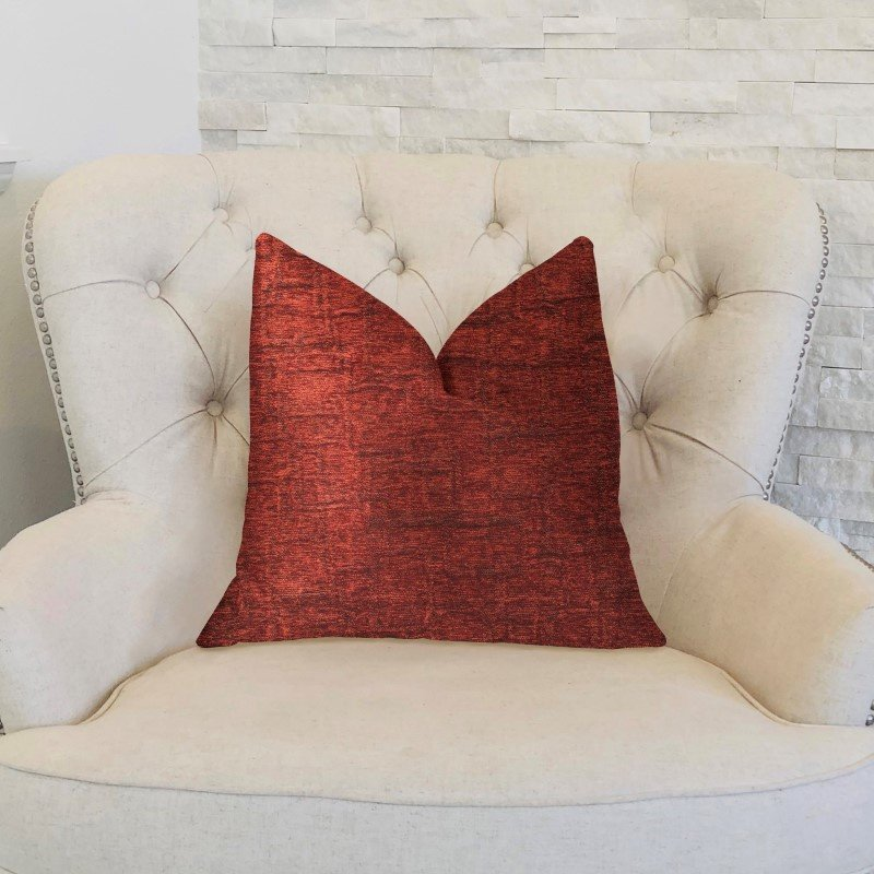 "Plutus Brands Paprika Jam Burgundy Red Luxury Throw Pillow 20"" x 30"" Queen (PBKR1977-2030-DP)"