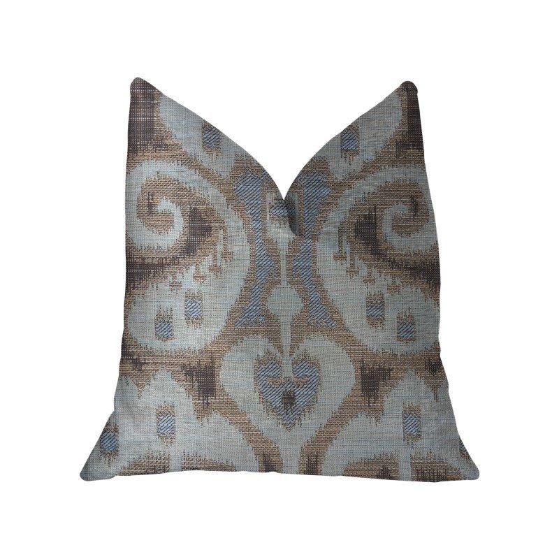 "Plutus Brands Paragon Brown Blue and Beige Luxury Throw Pillow 18"" x 18"" (PBKR1921-1818-DP)"