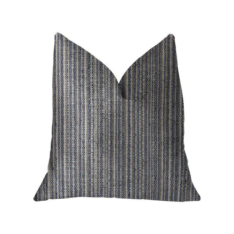 "Plutus Brands Parallel Lanes Blue Beige and Brown Luxury Throw Pillow 20"" x 30"" Queen (PBKR1951-2030-DP)"
