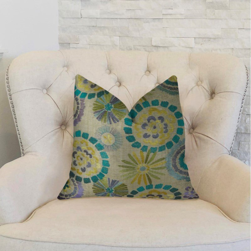 """Plutus Brands Paulina Turquoise Olive and Taupe Handmade Luxury Pillow 12"""" x 20"""" (PBRAZ185-1220-DP)"""