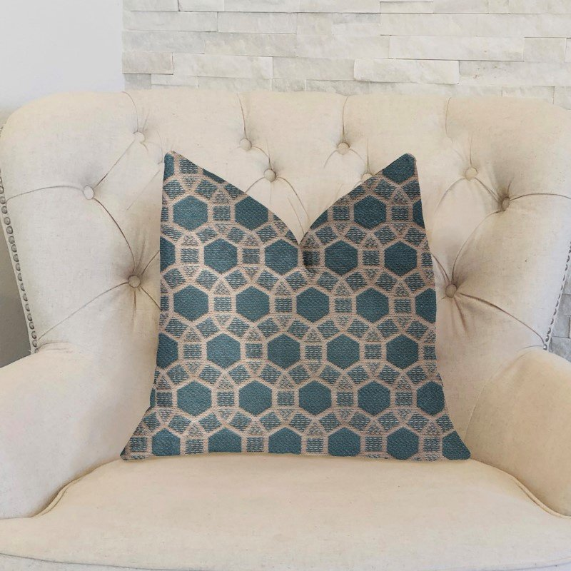 "Plutus Brands Pineapple Slice Blue and Beige Luxury Throw Pillow 12"" x 20"" (PBKR2000-1220-DP)"