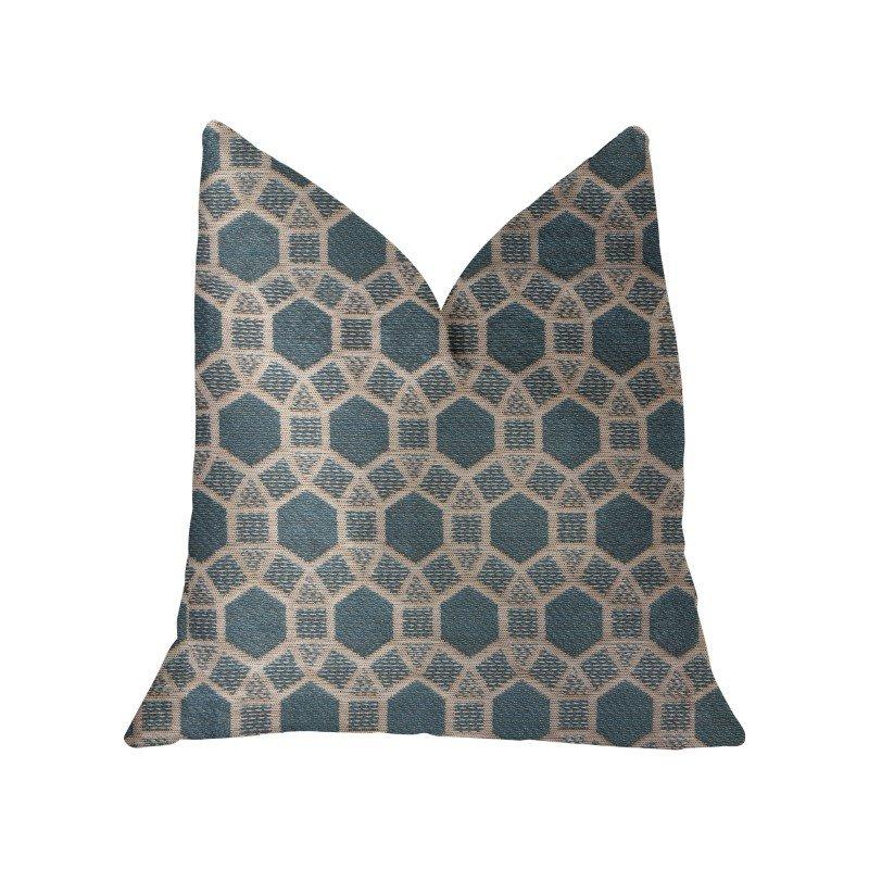 "Plutus Brands Pineapple Slice Blue and Beige Luxury Throw Pillow 16"" x 16"" (PBKR2000-1616-DP)"