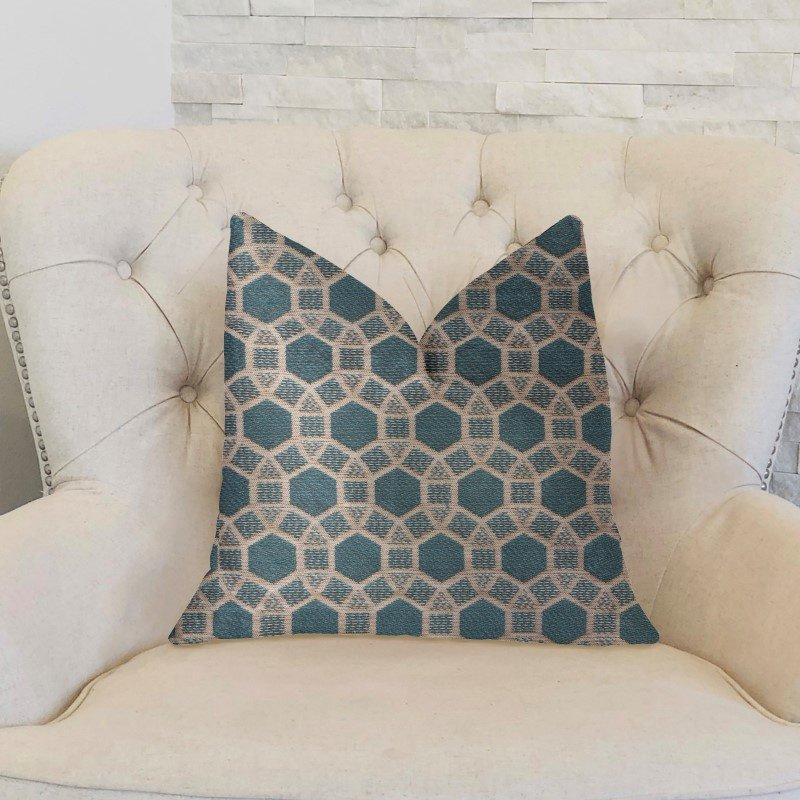 "Plutus Brands Pineapple Slice Blue and Beige Luxury Throw Pillow 18"" x 18"" (PBKR2000-1818-DP)"