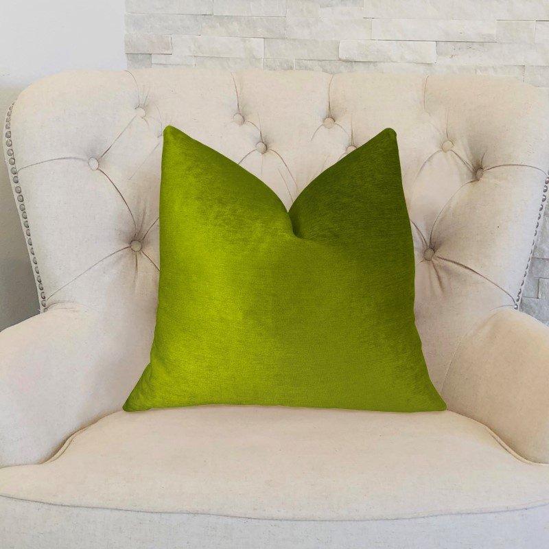 "Plutus Brands Pistachio Love Green Handmade Luxury Pillow 22"" x 22"" (PBRAZ375-2222-DP)"