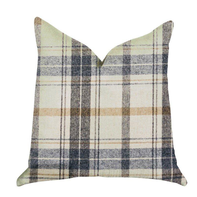 "Plutus Brands Plaid Rendezvous Luxury Throw Motif Pillow 18"" x 18"" (PBRA1334-1818-DP)"