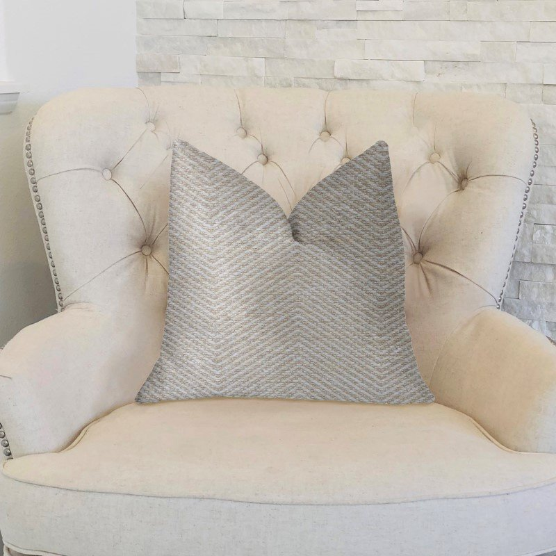 "Plutus Brands Plainville Beige Luxury Throw Pillow 16"" x 16"" (PBKR1962-1616-DP)"