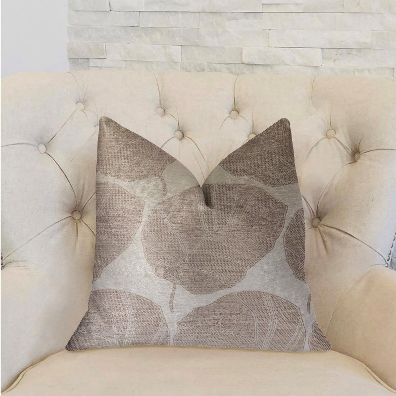 "Plutus Brands Pleasant Leaves Gray Luxury Throw Pillow 26"" x 26"" (PBRA2287-2626-DP)"
