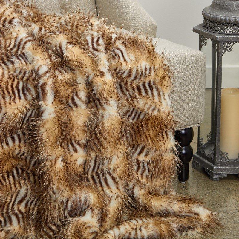 "Plutus Brands Porcupine Beige Faux Fur Luxury Throw Blanket 96""L x 110""W Queen (PBEZ1782-96x110T)"