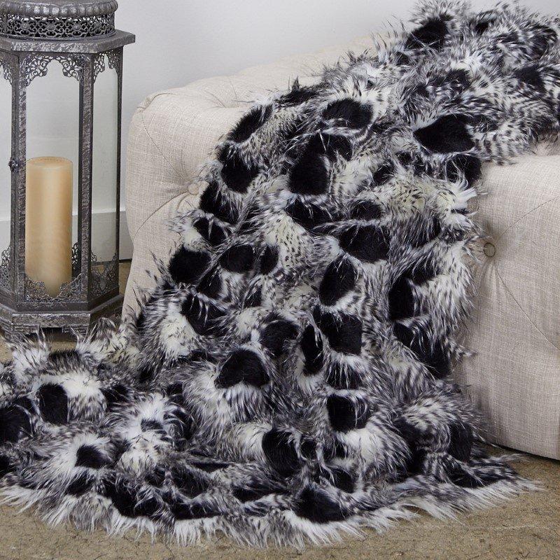 "Plutus Brands Porcupine Black and White Faux Fur Luxury Throw Blanket 70""L x 90""W Twin (PBEZ1784-7090-TC)"