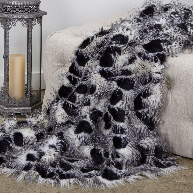 "Plutus Brands Porcupine Black and White Faux Fur Luxury Throw Blanket 70""L x 90""W Twin (PBEZ1784-7090-TC)"
